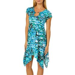 Lexington Avenue Womens Geo Keyhole Sharkbite Hem Dress