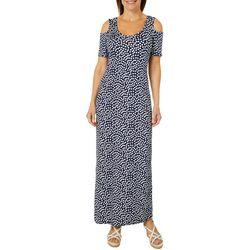 Lexington Avenue Womens Polka Dot Cold Shoulder Maxi Dress