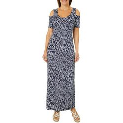 Lexington Avenue Womens Polka Dot Cold Shoulder Maxi Dress