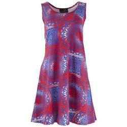 Womens Americana Nordic Pattern Sun Dress