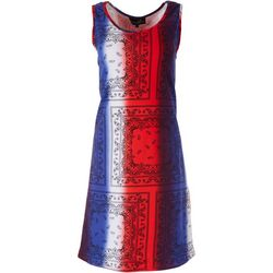 Lexington Avenue Womens Americana Scarf Dress