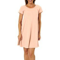 Lexington Avenue Womens Solid Ribbed T-shirt Dress