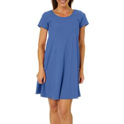 Womens Solid Ribbed T-shirt Dress