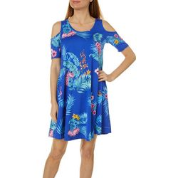 Lexington Avenue Womens Leaf Design Cold Shoulder Dress