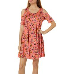 Lexington Avenue Womens Floral Cold Shoulder Sundress