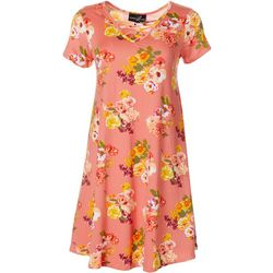 Lexington Avenue Womens Lattice Neck Rose Print Sundress