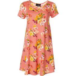 Womens Lattice Neck Rose Print Sundress
