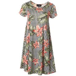 Lexington Avenue Womens Floral Gingham Print Dress