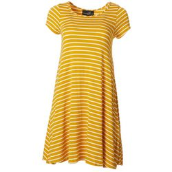 Lexington Avenue Womens Horizontal Stripe T-shirt Dress