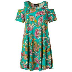 Lexington Avenue Womens Cold Shoulder Paisley Print Sundress