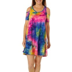 Lexington Avenue Womens Tie Dye Print Cold Shoulder Dress