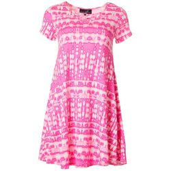 Lexington Avenue Womens Lattice Graphic Tie Dye Sundress