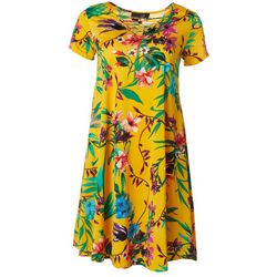 Lexington Avenue Womens Lattice Tropical Floral Sundress
