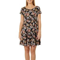 Lexington Avenue Womens Floral Print T-Shirt Dress