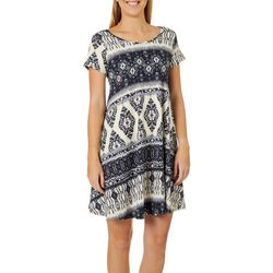 Lexington Avenue Womens Boho Abstract Print T-Shirt Dress