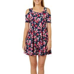 Lexington Avenue Womens Floral Print Cold Shoulder Sundress