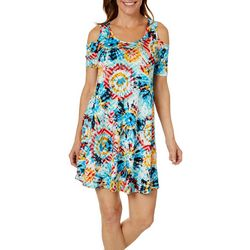 French Atmosphere Womens Tie Dye Cold Shoulder Sundress