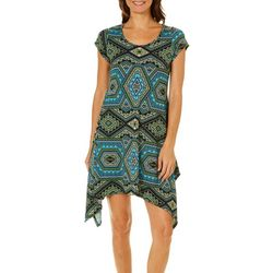 French Atmosphere Womens Geometric Handkerchief Hem Dress