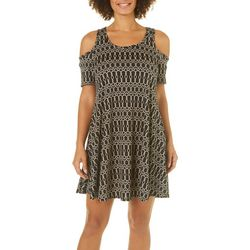 French Atmosphere Womens Chain Link Cold Shoulder Sundress