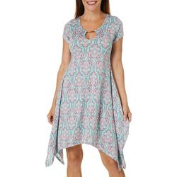 Lexington Avenue Womens Damask Keyhole Sharkbite Hem Dress