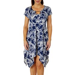 Lexington Avenue Womens Floral Keyhole Sharkbite Hem Dress