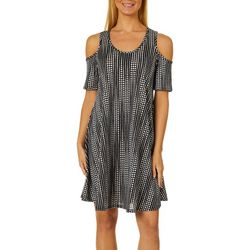 Lexington Avenue Womens Stripe Dot Cold Shoulder Swing Dress