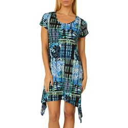 Lexington Avenue Womens Lagoon Sharkbite Hem Dress