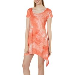 Lexington Avenue Womens Tie Dye Sharkbite Hem Dress