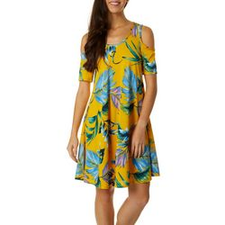Lexington Avenue Womens Leaf Print Cold Shoulder Sundress