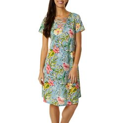Lexington Avenue Womens Lattice Neck Floral Print Dress