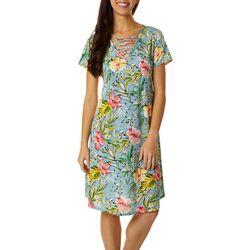 Womens Lattice Neck Floral Print Dress