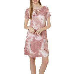 Womens Lattice Detail Tie Dye Sundress