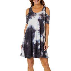 Lexington Avenue Womens Tie Dye Print Cold Shoulder Sundress