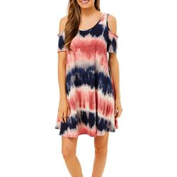 Lexington Avenue Womens Tie Dye Print Cold Shoulder Sundress