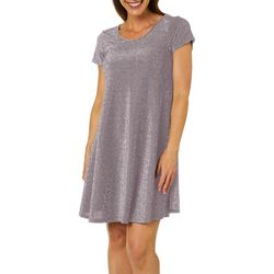 Lexington Avenue Womens Glitter T-Shirt Dress