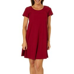 Lexington Avenue Womens Solid Ribbed T-Shirt Dress