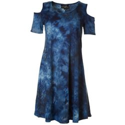 Lexington Avenue Womens Tie-Dye Print Cold Shoulder Dress