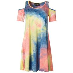 Womens Tie Dye Print Cold Shoulder Dress
