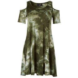 Lexington Avenue Womens Tie Dye Print Cold Shoulder Dress