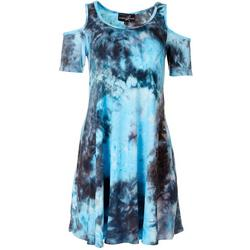 Womens Tie-Dye Cold Shoulder Dress