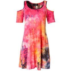 Lexington Avenue Womens Tie-Dye Shoulder Cutout Dress
