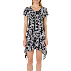 Lexington Avenue Womens Geo Linked Sharkbite Hem Dress