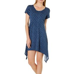 Lexington Avenue Womens Dot Print Sharkbite Hem Dress