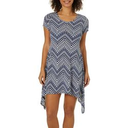 Lexington Avenue Womens Mixed Chevron Sharkbite Hem Dress