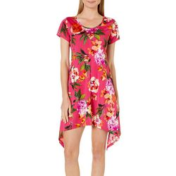 Lexington Avenue Womens Floral Print Sharkbite Hem Dress