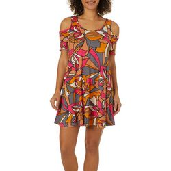 Lexington Avenue Womens Dotted Floral Cold Shoulder Dress