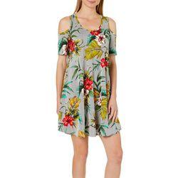 Lexington Avenue Womens Tropical Striped Cold Shoulder Dress
