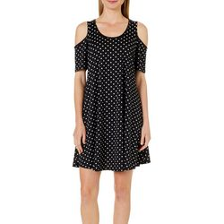 Lexington Avenue Womens Polka Dot Cold Shoulder Swing Dress