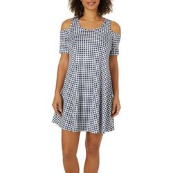 Lexington Avenue Womens Checkered Cold Shoulder Swing Dress