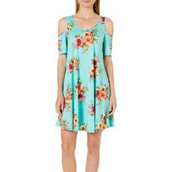 Lexington Avenue Womens Floral Cold Shoulder Swing Dress